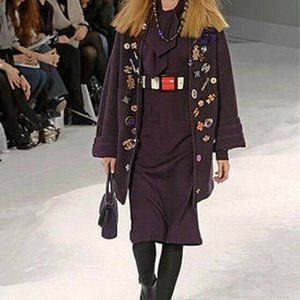 Chanel 2007 RUNWAY Purple Cashmere Long Cardigan
